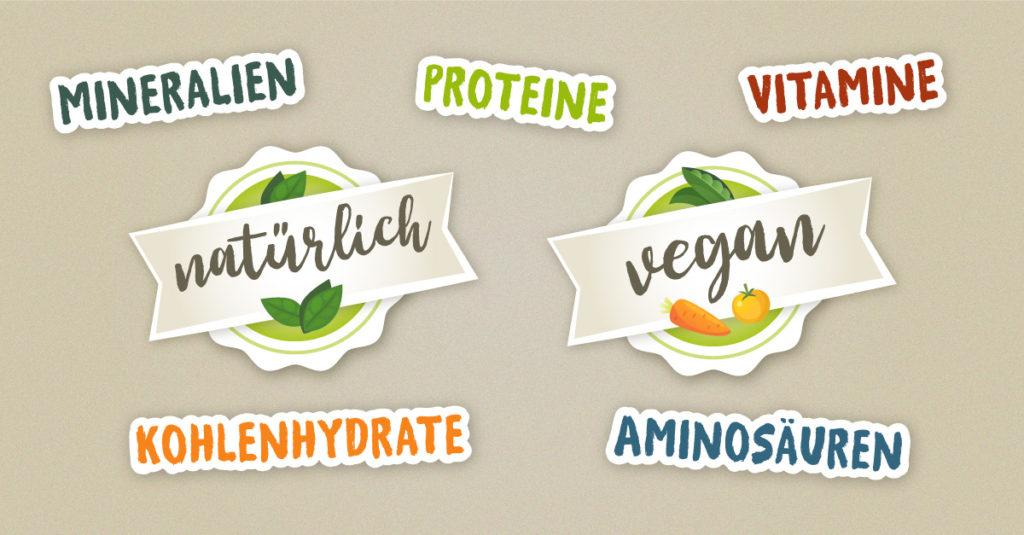 Stilisierte Schrift: Proteine, Kohlenhydrate, Aminosäure, Vitamine, Mineralien, natürlich, vegan